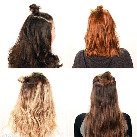half up bun hairstyles for short hair полупучок из волос как сделать модный полупучок на голове