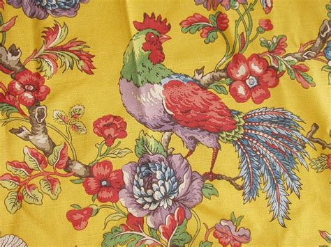 rooster print upholstery fabric rooster fabric remnant yellow rooster print 38 x 30 designer