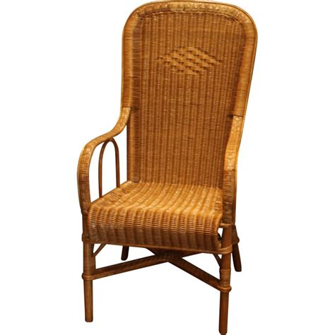 tall back armchair wicker armchair with high back with honey color 1950s