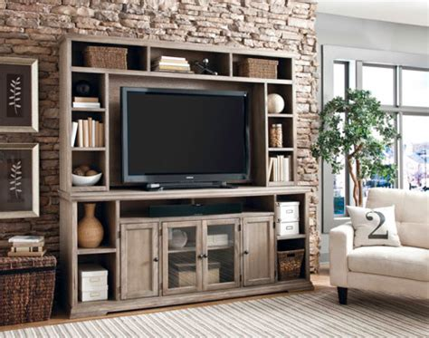 entertainment center with display shelves