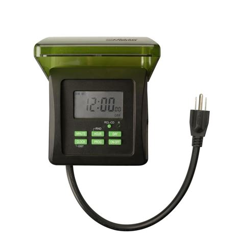 Outdoor Electrical Timers For Lights Woods 15 7 Day Digital Outdoor Heavy Duty 2 Outlet Timer Black 50015 The Home Depot