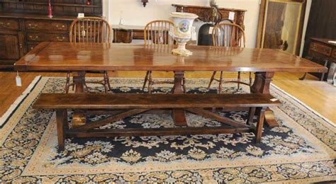 Farmhouse Table And Bench Set norfolk farmhouse refectory trestle table bench set