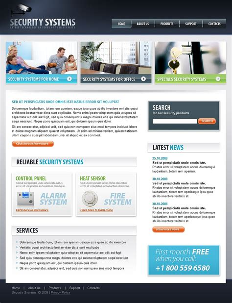 office security system website template web design