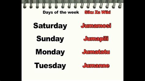 What Calendar Week Are We In Swahili Days Of The Week