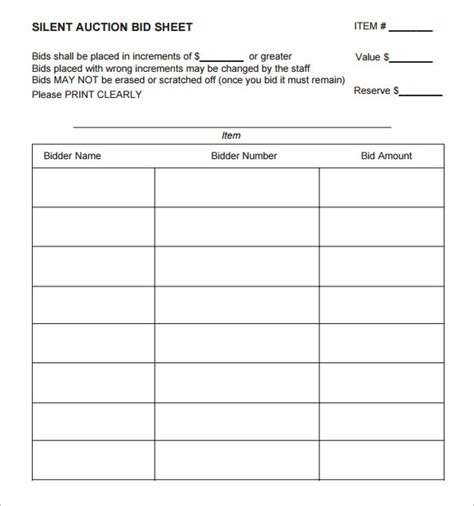 silent auction bid sheet template 9 free sles