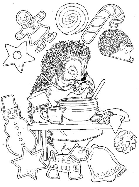 coloring pages for the hat by jan brett hedgie s cookies
