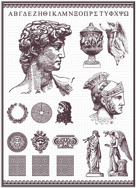 roman pattern vector vintage roman statues design vector vector other free