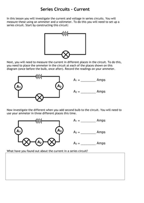resistors in series and parallel worksheet gcse current voltage in series parallel circuits by tafkam teaching resources tes