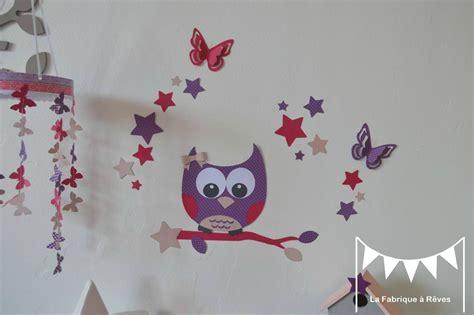 chambre enfant violet stickers hibou chouette 233 toiles papillon fille