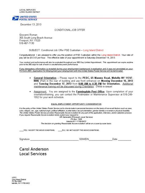 Offer Letter Usps conditional offer of employment letter docoments ojazlink