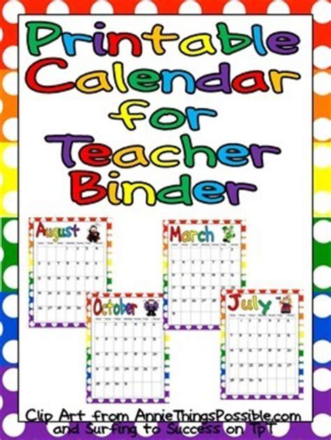 FREE Printable Calendar for Teacher Binder by Melissa