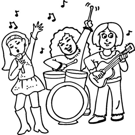 Band Coloring Pages Concert Of A Female Rock Band Coloring Page
