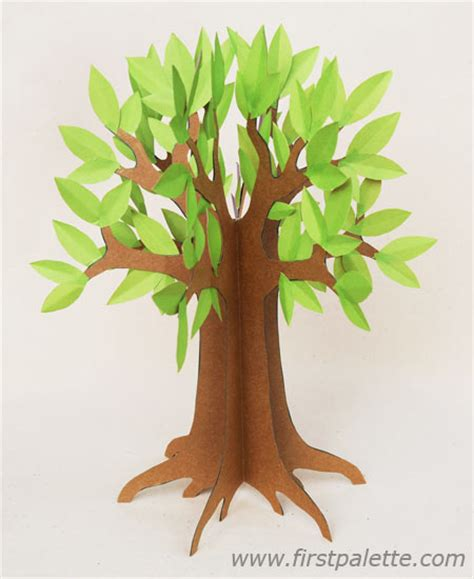 Make Tree With Paper - 3d paper tree craft crafts firstpalette