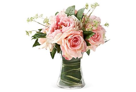 Peony Arrangement 12 Quot Peonies Amp Roses In Glass Vase Blush Gorgeous For All