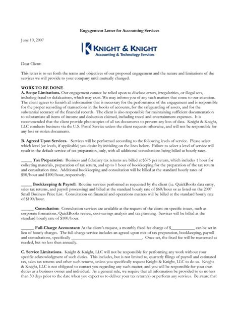 engagement agreement template accounting consulting engagement letter sle templates