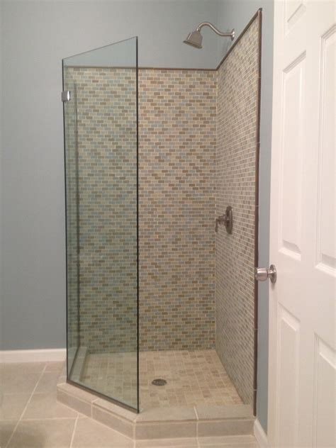 No Shower Door Frameless Neo Angle Shower Enclosures
