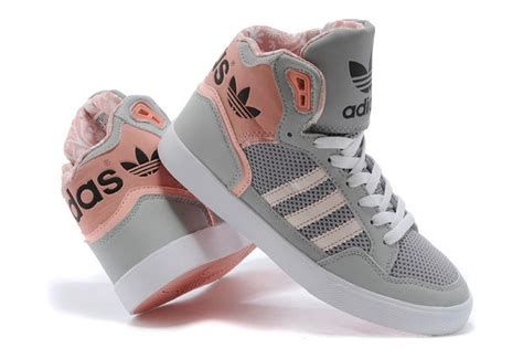 womens high top sneakers adidas adidas extaball womens high tops m20173 grey pink trainers
