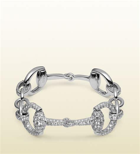 Gucci Pasir Goldwhite lyst gucci horsebit bracelet in white gold in white