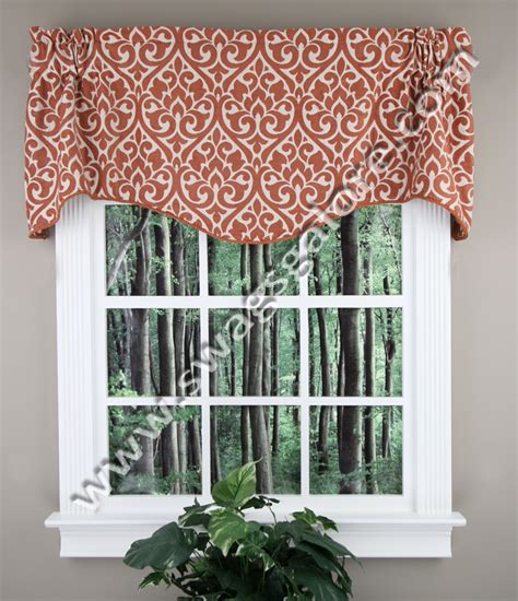 Rust Colored Kitchen Curtains Bryce Chenille Scalloped Valance Rust Twill Birch Kitchen Valances