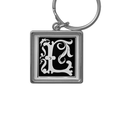 Gift Starting With Letter L Calligraphy Letter L Monogram Keychain Zazzle