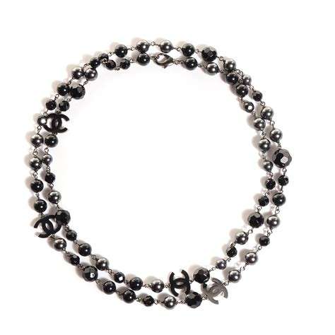 chanel beaded necklace chanel beaded cc necklace ruthenium black 98848