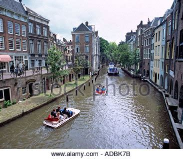 pedal powered canal boat utrecht netherlands canal oude gracht restaurant stock