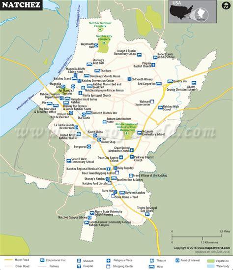 map of usa mississippi natchez map city map of natchez mississippi
