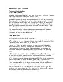 server job description resume - Server Job Description For Resume