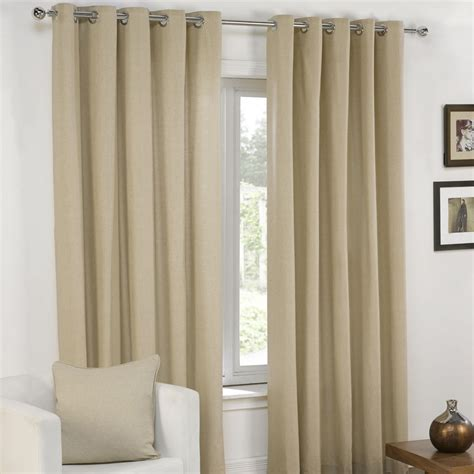 cream grey curtains plain eyelet grommet fully lined pair window curtains