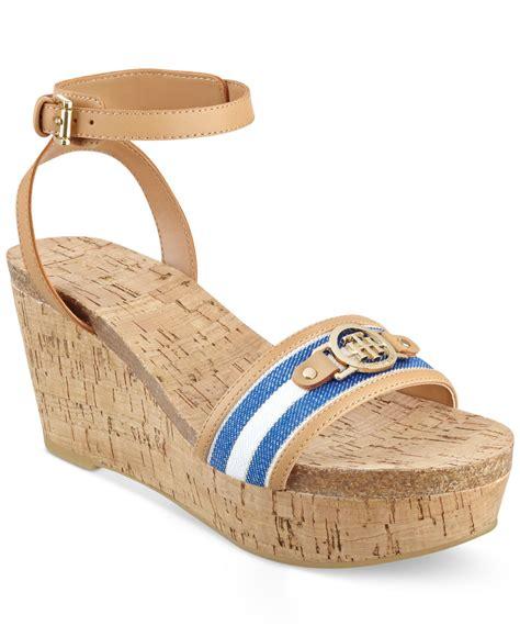 hilfiger wedge sandals lyst hilfiger hesley platform wedge sandals in