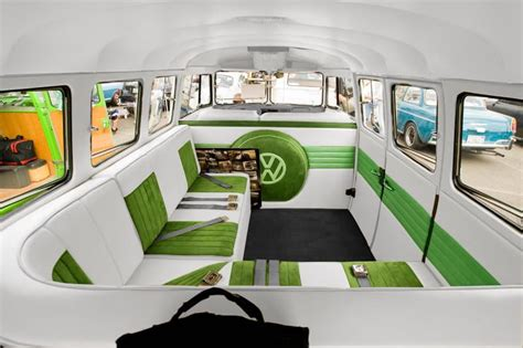 volkswagen hippie van inside vw bus interior plan to have leather and suede inserts