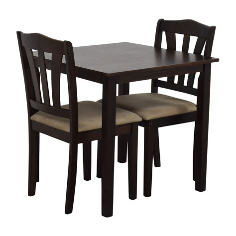 Dining Table With Upholstered Chairs 46 Wood Dining Table And Beige Upholstered Chairs Tables