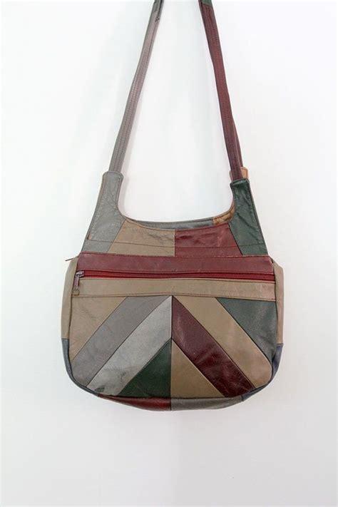 vintage leather hobo bag 1970s patchwork leather purse