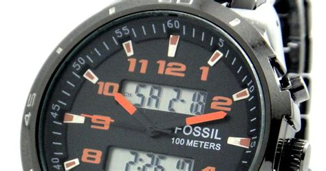 Jam Tangan Fossil Set Bq2303 Ori fossil 100 meter dual time black digital analog