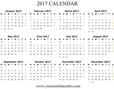 2017 Calendar Printable Images Transparent Calendar Template