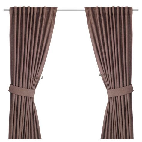 Textured Curtains Ikea Ingert Curtains 57x118 Quot Long Brown Window Drapes