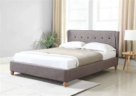 scandinavian bed scandinavian queen size fabric bed frame grey ebay
