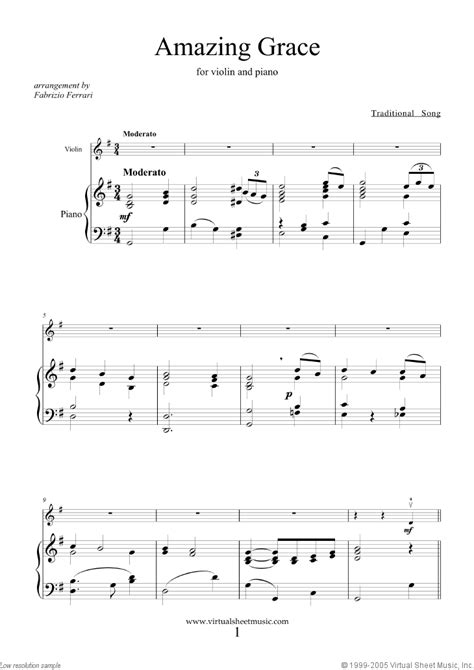 printable sheet music amazing grace amazing grace sheet music for violin and piano