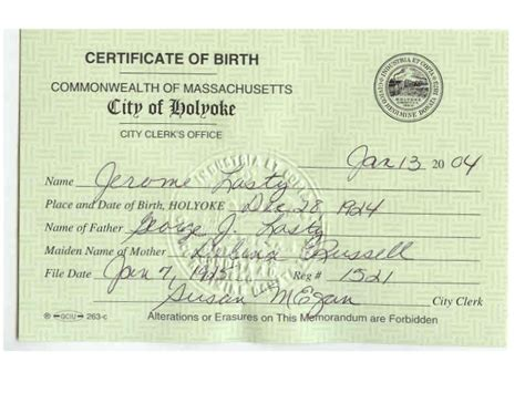 Mass Birth Records Image Massachusetts Birth Certificate