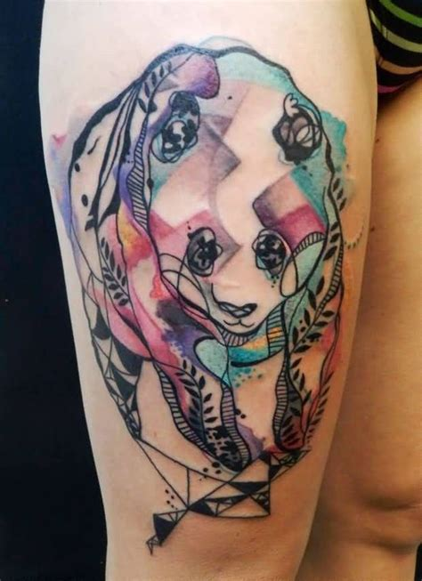 panda tattoo on thigh watercolor style panda tattoo on thigh