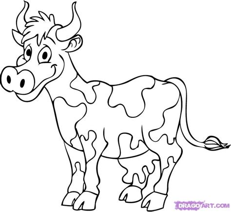 how to draw a cartoon cow step by step cartoon animals