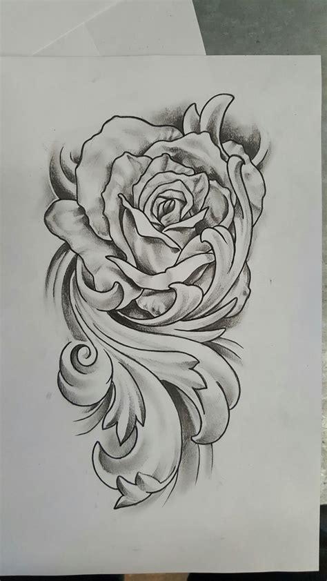 tattoo rose drawing with flourish design tattoos