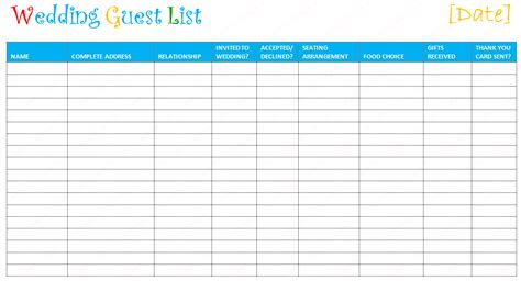 Wedding Planner Guest List by Free Editable Wedding Guest List Templates Document