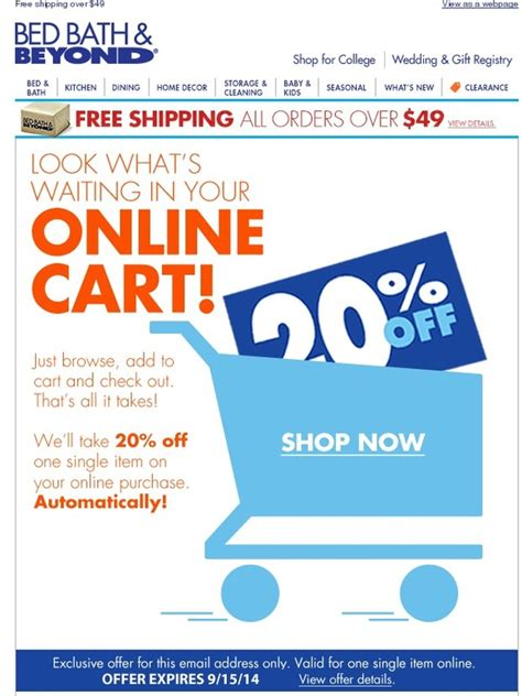 bed bath and beyond your 20 online offer is here free