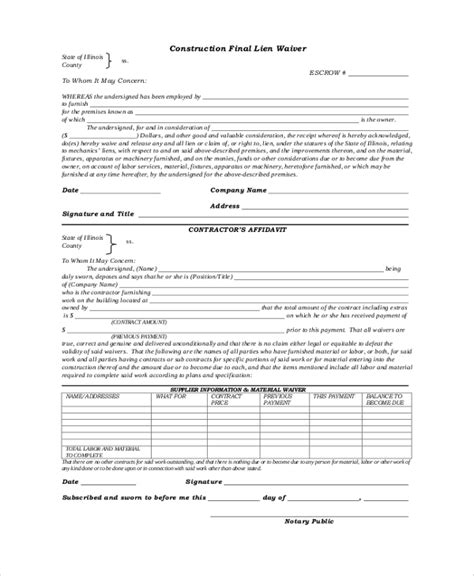 sle lien waiver form 8 exles in pdf word