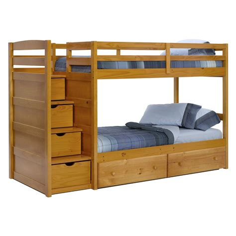bed stairs pine ridge front loading stair bunk bed honey at hayneedle