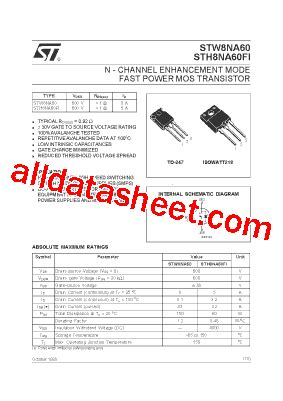 transistor website h8na60fi datasheet pdf stmicroelectronics