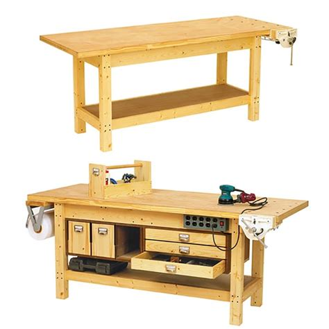 basic woodworking plans basic workbench and 6 ways to beef it up woodworking plan
