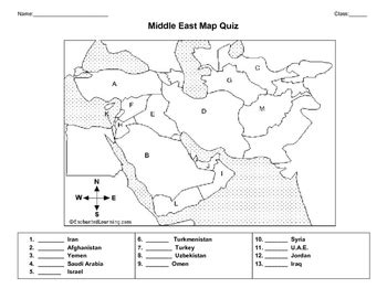middle east map quizworksheet  history literacy tpt