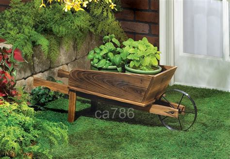 wood farm garden wheelbarrow flower pot planter cart ebay